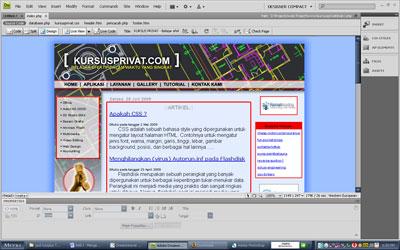 Web yang sedang dirancang ditampilkan dengan Live View.