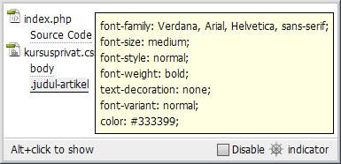Code Navigator mempermudah  proses menampilkan dan memperbaiki properti pada CSS.