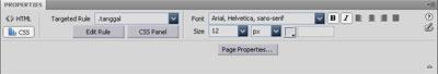 Panel Properties pada Dreamweaver CS4 memisahkan kode HTML dan CSS.